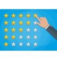 Hand of customer placing rating stars vector image