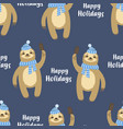 happy holidays pattern with sloth vector image