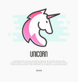 head silhouette unicorn with pink mane vector image