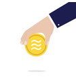 libra coin sign in hand money and finance vector image vector image