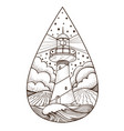 lighthouse contour for logo emblem coloring page vector image