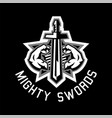 logo mighty swords muscular arms sport and vector image vector image