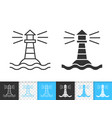 marine lighthouse simple black line icon vector image