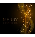 Merry Christmas gold greeting card with vector image vector image