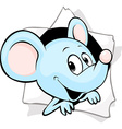 mouse peering out of a hole in a paper vector image vector image