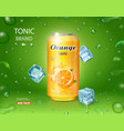 orange soft drink contained in yellow metal can vector image