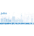 Outline Jeddah Skyline with Blue Buildings