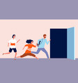 people run to open door being late men and women vector image vector image