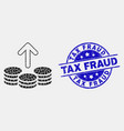 pixelated spend coins icon and grunge tax vector image vector image