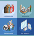 pvc windows isometric concept vector image vector image