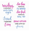 Reading book inspiration typography set vector image