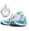 running shoes and stopwatch vector image vector image
