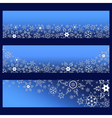 set blue banners with 3d snowflake vector image