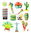 set brazil country colorful icons traditional vector image vector image
