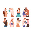 set cute women and families with newborn baby vector image vector image