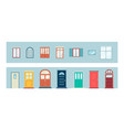 set doors and windows frames icons flat vector image vector image