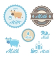 Set of labels and symbols for milk in vector image vector image