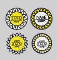 set of logo abstract circles symbols in yellow on vector image
