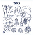 set of various trees patterns vector image vector image