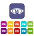 skiing mask icons set vector image vector image
