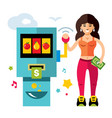 slot machine and girl game of chance flat vector image vector image