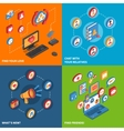 Social Network Icons Isometric Set vector image vector image
