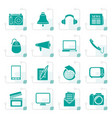 stylized communication and media icons vector image vector image