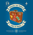 time to travel banner with retro suitcase vector image