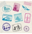 Travel stamps with Europe countries landmarks vector image vector image