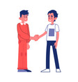 two young man shaking hands with smile vector image