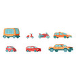 urban public transport set with bus taxi vehicle vector image