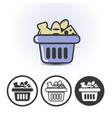 usual food in the market basket icon vector image vector image