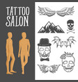 vintage sketch tattoo studio elements set with vector image