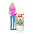 woman with cart and watermelon vector image