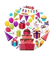 Birthday Elements Round Composition vector image