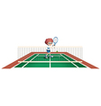 A boy playing tennis at the tennis court vector image vector image