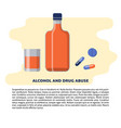 alcohol and drugs concept in flat vector image