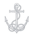 anchor with rope around hand drawn sketch vector image vector image