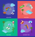 aqua park banner card set isometric view vector image