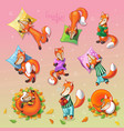 awesome set with cute cartoon sleeping foxes vector image