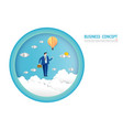 businessman flying on a light bulb balloon goals vector image