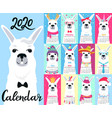 calendar for 2020 from sunday to saturday cute vector image vector image