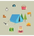camping hiking icon set of map tent compass flag vector image vector image
