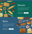 cartoon bakery web banner templates vector image vector image