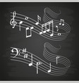 chalk sketch musical sound wave with music notes vector image vector image