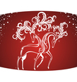 Christmas Card with decorative deers vector image vector image
