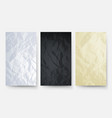 crumpled paper white black yellow carton texture vector image