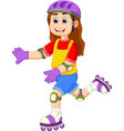 cute girl cartoon playing roller skates vector image vector image