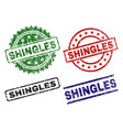 damaged textured shingles seal stamps vector image vector image