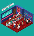 dance bar isometric composition vector image vector image